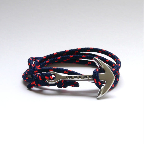 Nautical Rope Bracelet Anchor chrome Navy fluro Coral