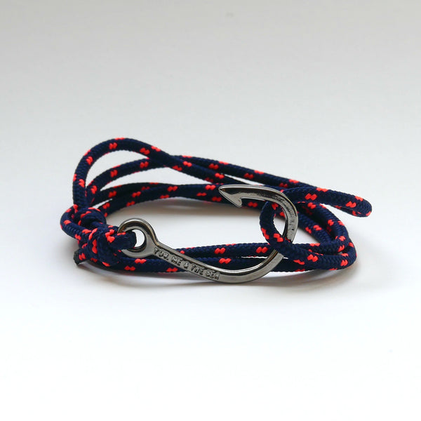 Nautical Rope Bracelet Hook Black Navy Fluor Coral