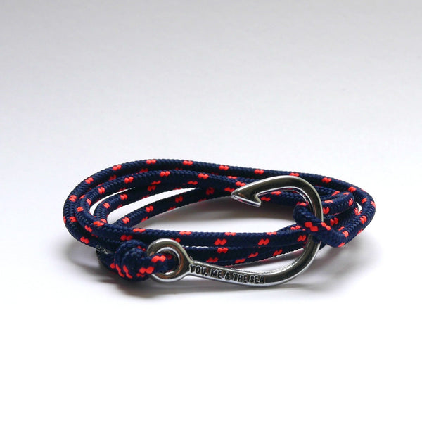 Nautical Rope Bracelet Hook chrome Navy fluro Coral