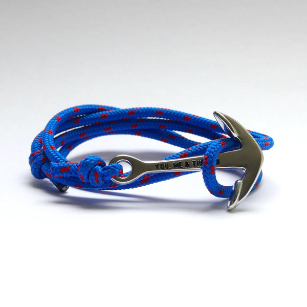 Nautical Rope Bracelet Anchor Silver Royal Blue Red