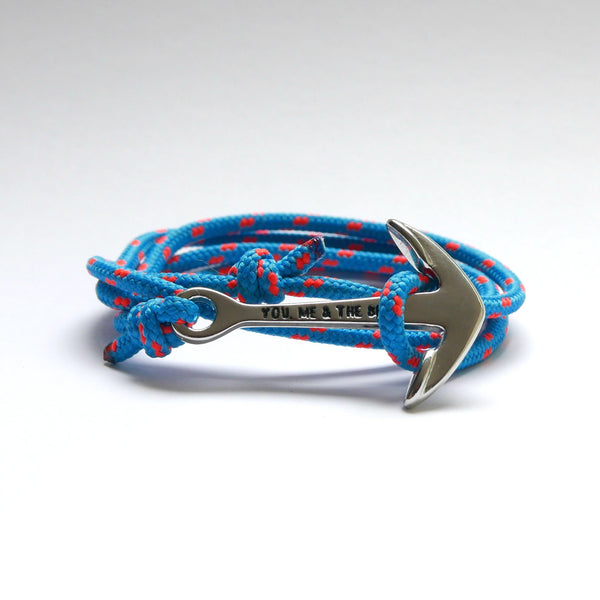 Nautical Rope Bracelet Anchor Silver Ocean Blue Fluor Orange