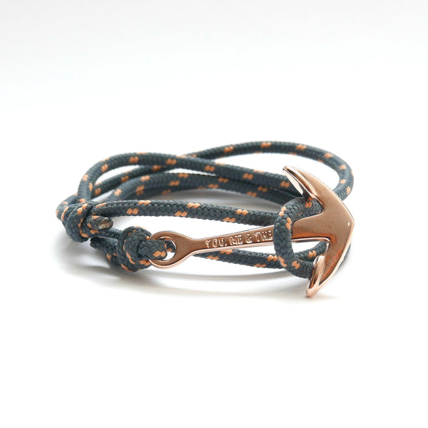 Nautical Rope Bracelet Anchor Rose Gold Plated Grey Peach