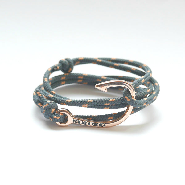 Nautical Rope Bracelet Hook Rose Gold Grey Peach
