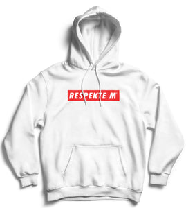 An all white hoodie with Respect written in creole printed in white surrounded inside a red rectangle border.