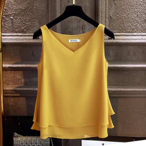 Ms. Confident sleeveless Chiffon Solid V-neck blouse