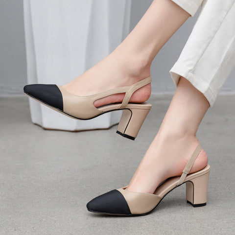Ms. Confident Sling backs Natural Genuine Leather