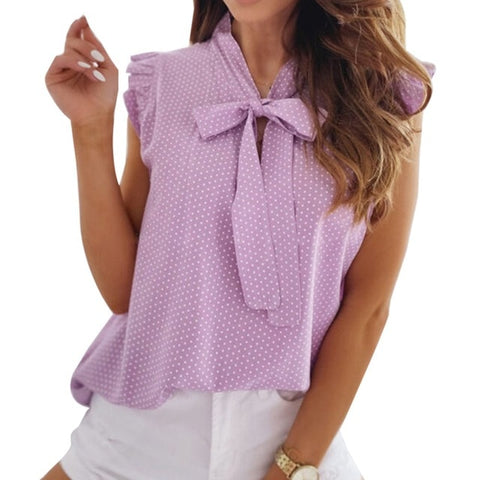 Ms. Confident Blouses Short Sleeves Shirt Summer Bow Lace