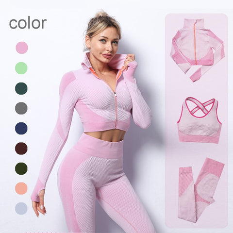 (Yoga)  Womens Set Gym Clothing Running Clothes Female Sport fitness Suit Yoga Top+ Leggings women Seamless gym set