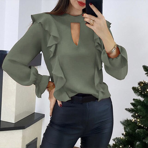 Ms. Confident O-neck Ruffle Blouse