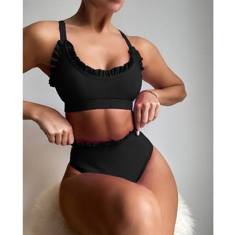 Ms. Confident Ruffle High Waist Swimwear