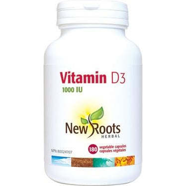 NEW ROOTS HERBAL Vitamin D3 1000IU 180 Vegetable Capsules