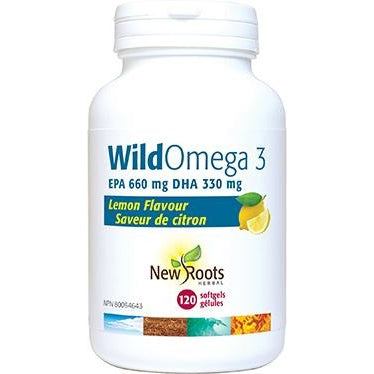 NEW ROOTS HERBAL Wild Omega 3 EPA 660MG DHA 330MG Lemon Flavour 120 Softgels