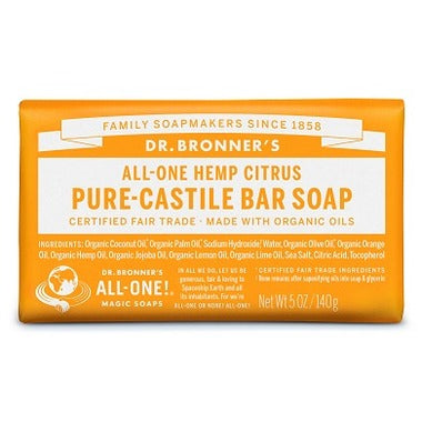 DR. BRONNER'S Pure Castile Bar Soap Citrus Orange 5 oz Bar