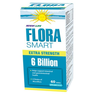 RENEW LIFE FloraSMART Extra Strength 6 Billion CFU 60 Tablets