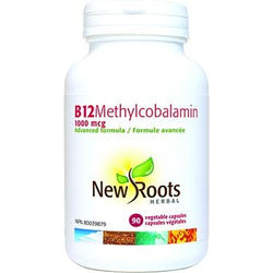 NEW ROOTS HERBAL Vitamin B12 Methylcobalamin 1000mcg 90 Vegetable Capsules