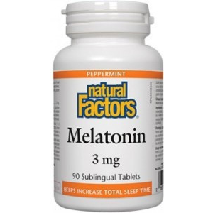 NATURAL FACTORS Melatonin 3mg Peppermint 90 Sublinqual Tablets