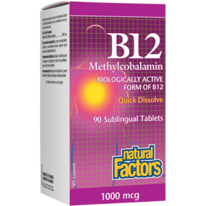 NATURAL FACTORS B12 Methylcobalamin 1000mcg 90 Sublingual Tablets