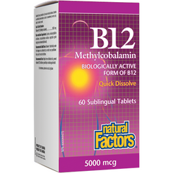 NATURAL FACTORS B12 Methylcobalamin 5000mcg 60 Sublingual Tablets