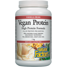 NATURAL FACTORS Vegan Protein Vanilla Bean 1 kg Powder