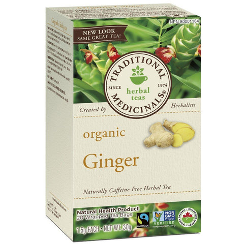 TRADITIONAL MEDICINALS Organic Ginger Tea 20 Tea Bags