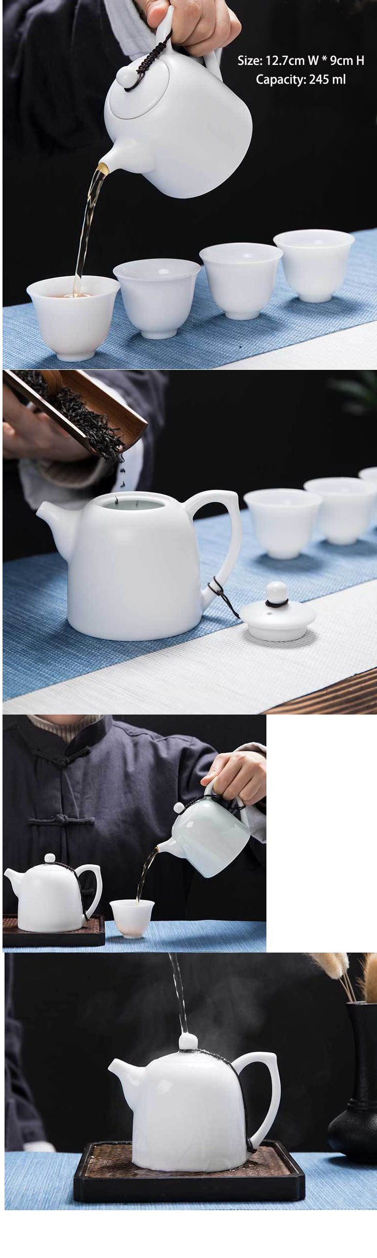 chinese white ceramic kongfu teapot