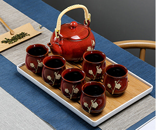 Ceramic Teapot Tea Cup KongFu Porcelain Tea Set 12 pieces(RED)
