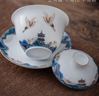Traditional Gaiwan Tea Set Ceramic KongFu Porcelain gaiwan set