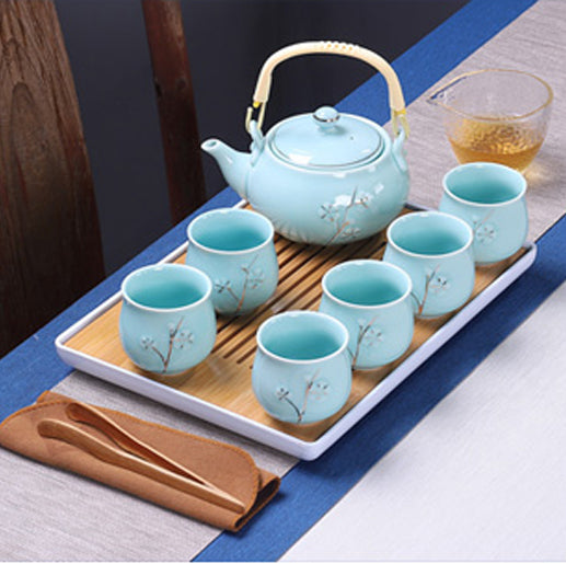 Chinese/Japanese Blue Tea Set Ceramic Teapot Tea Cup Porcelain Tea Set With Tea Tray