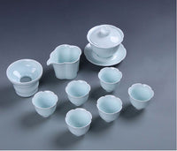 Traditional Chinese Gaiwan Tea Set Ceramic Blue KongFu Porcelain gaiwan set