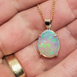 9ct Gold Coober Pedy Crystal Opal Pendant 056T
