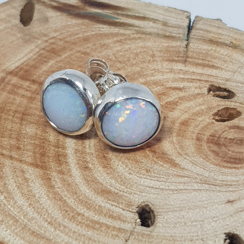 Silver Coober Pedy Rainbow Opal Earrings 061E