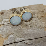 White Rainbow 9ct Gold Coober Pedy Opal Earrings 057D