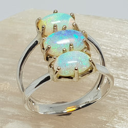 Three Australian crystal opals set in a 9ct gold / silver custom setting (watch the video) 058N