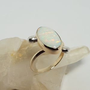 Tiger stripes Coober Pedy Crystal Opal Ring 045X1