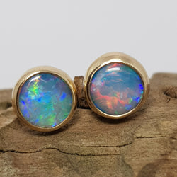 9ct Gold Coober Pedy Blue Opal Earrings 060T