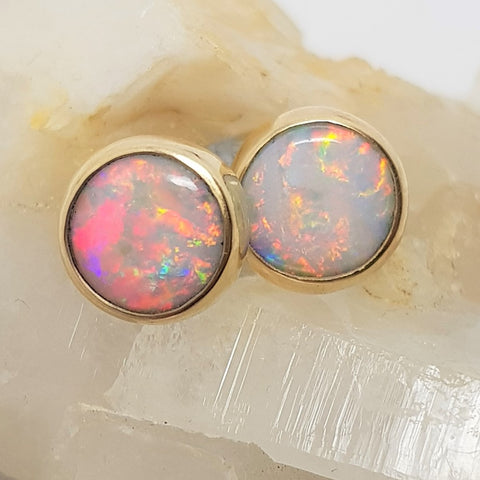 9ct Gold Coober Pedy Rainbow Opal Earrings 060U