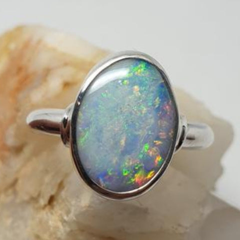 Large Coober Pedy Opal Ring 056K1