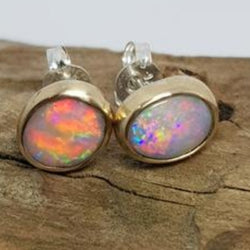 9ct Gold Coober Pedy Rainbow Opal Earrings 060V