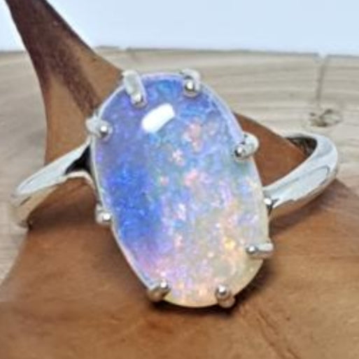 Coober Pedy Crystal Galaxy Opal Ring 060N