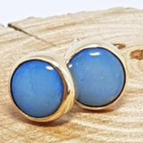 9ct Gold Coober Pedy Blue Opal Earrings 067G