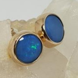 Royal Blue Opal Earrings 067F