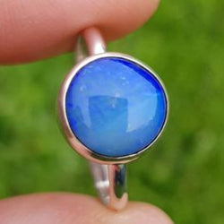 Bright Blue Coober Pedy Opal Ring 065D