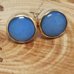 9ct Gold Coober Pedy Blue Opal Earrings 067I