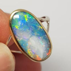 Opalised Shell Ring 067D
