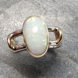 Gold and silver white Opal Ring 066B