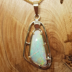 9ct Gold Coober Pedy Crystal Opal Pendant 058X