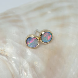9ct Gold/Silver Coober Pedy Opal Earrings 066D