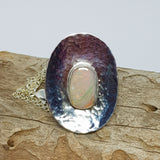 Dusty Pink and Green Mintabie Opal Pendant 032D