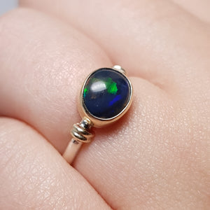 Semi Black Opal Ring set in Silver and Gold 077A