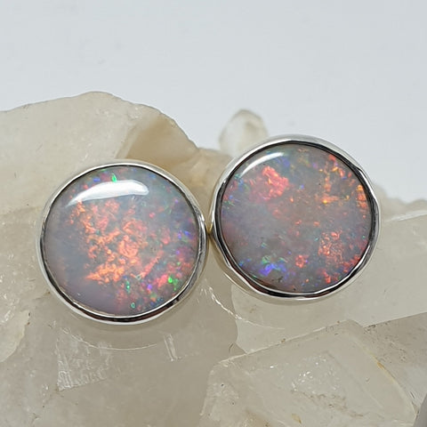 Large Coober Pedy Rainbow Opal Earrings 060W